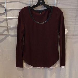 Ann Taylor burgundy long sleeve top
